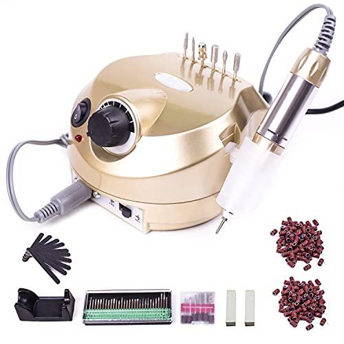 Elektrische Nagelfräser Fräser Nagelfeile Maniküre Set 30000/RPM Mit 6 Bits und Schleifhülsen für Nagelstudio Maniküre Einstellbarer (Gold)