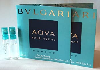 Bvlgari AQVA Marine Pour Homme by Bvlgari  2x  Eau de Toilette 1.5ml - 0.05 oz Sampler Vial Spray Partially filled by the manufacturer  See Picture  New in Cards.