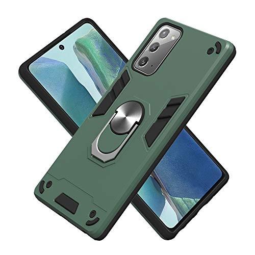 Armure Coque Huawei Y5P 2020 / Honor 9S, Boîtier PC + TPU Double Layer Housse résistant aux Chocs avec Support à Anneau Rotatif à 360 degrés (Vert foncé)