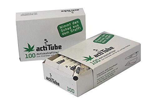 200 ActiTube Aktivkohlefilter 2 x 100er Box Display 9mm Eindrehfilter Pfeife in Acti Tube Tune Filter Tips Filtertips Aktivkohle