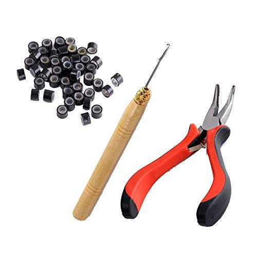 Faletony 3 in 1 Salon Microring Set 100x Microring + Haarverlängerung + Microringnadel Zange Werkzeugsatz, schwarz/braun/beige