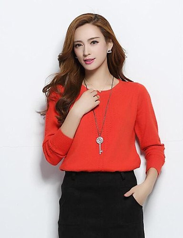 BaiChunYunYi Normal Women's Casual Daily Full Colour Round Neck Long Sleeve Micro Elastic Autumn Wool Cardigan