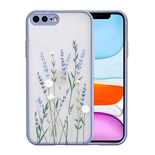 Ownest Compatible with iPhone 7 Plus/8 Plus Case with Clear Flower Frosted PC Back 3D Floral Girls Woman and Soft TPU Bumper Protective Silicone Slim Shockproof Case for iPhone 7 Plus/8 Plus-Purple