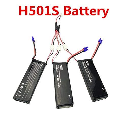 LanLan Accesorios del Drone 3pcs 7.4V 2700mAh Batería 1 a 3 Cable de Carga para Hubsan X4 H501S H501C H501A H501C H501M H501S W H501S Pro