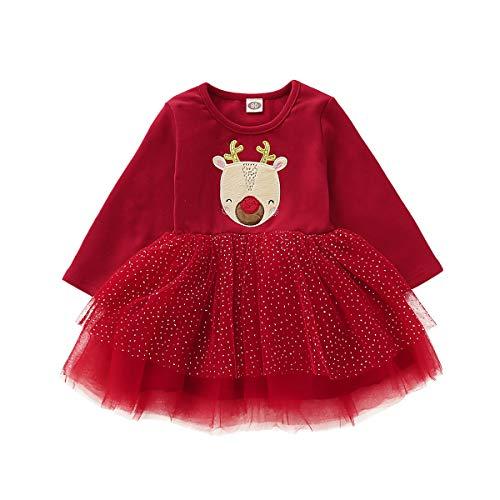 Imcute Christmas Baby Girl Outfit Reindeer Long Sleeve Dress Glitter Tutu Dress Skirt Fall Winter Clothes (Deer, 12-18 Months)