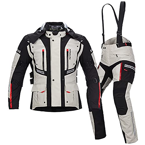 ZDSKSH Chaqueta De Moto Touring para Hombre - con Proteccion y Forro Extraíble - Ropa Motociclista Textil Impermeable Chaqueta + Pantalon 2 Piezas