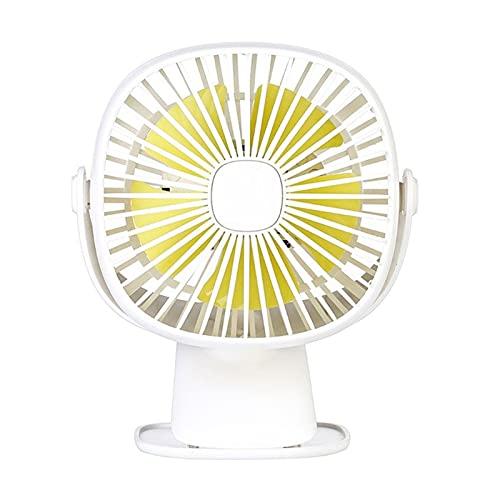 YDL Mini FONTRADA 3 in-1 Mini USB Ventilador De Carga Rotary 360 Grado Cuadrado LED Luz De Noche Pequeño Ventilador Personal Tranquilo Fan Ventilador (Color : White)