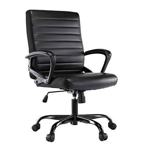 Kingsmen Goods Executive Bonded Ergonomic Leather Ergonomic Computer Office Chair with Adjustable Armrest- Black