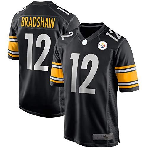 SANXIAN Rugby-Trikot, Frottee-Sweatshirt, Bradshaw, American Football, Pittsburgh T-Shirt, Steelers, Kleidung, #12 Game Retired Player Jersey, Schwarz, L