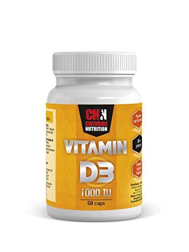 Chevron Nutrition Vitamin D3-60 Kapseln, 1000 IU, laktosefrei, Vitamin D hochdosiert - Sonnenvitamine stärken Immunsystem, Zähne, Muskeln