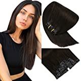 Sunny Dark Brown Clip in Hair Extensions 14 inch #2 Darkest Brown Clip in Human Hair Extensions Thick Pu Tape Brown Hair Extensions Clip in 7pcs 140g