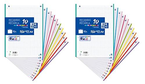 Hojas cuadriculadas A4, Pack de 2 Recambios Oxford, Banda 10 colores, 160 Hojas, Cuadrícula 5x5