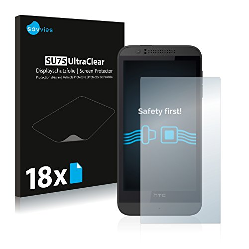 Savvies 18x Schutzfolie kompatibel mit HTC Desire 510 Bildschirmschutz-Folie Ultra-transparent