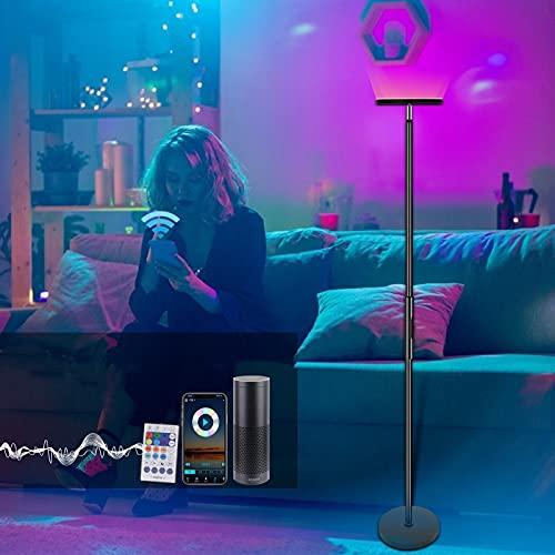 InLoveArts 24W LED Stehlampe Dimmbar WiFi,Moderne Deckenfluter Stehleuchte mit Farbtemperaturen und Helligkeit Stufenlos Dimmbar mit,Kompatibel mit Alexa und Google Assistant,169.9cm[Energieklasse A+]