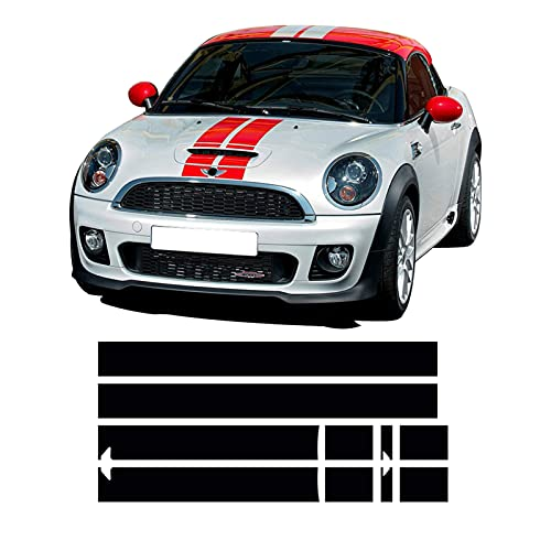 nasASLK Calcomanía de Rayas para capó de Coche, Cubierta del Motor, calcomanía para Maletero, Apto para Mini Cooper Coupe R58 Cabrio R57 Roadster R59 JCW Accesorios