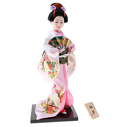 MagiDeal 12inch Japanese Kimono Doll Geisha Figurine with Fan Ornaments Gift Art Craft Collectables Pink