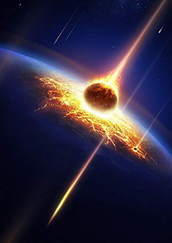 Diamante Painting_Galaxy Marte Golpea la Tierra Marte golpea la Tierra Diamond Painting @ Cubo de Rubik taladro redondo 22 * 30cm taladro completo