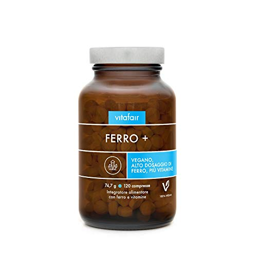 Ferro - Vitamina C, B12 & Biotina - 120 Capsule - La Combinazione Copre il 100% del Fabbisogno Giornaliero - Alto Dosaggio - Vegano - Senza Sali di Magnesio - German Quality