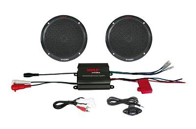 Pyle 2 Channel 400 Watt Waterproof Micro Marine Amplifier and 6.5-Inch Speaker System