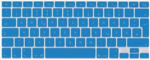 Deutsche QWERTZ ISO Silikon Abdeckung für MacBook, Air und Pro Tastatur, EU-Enter - BLAU