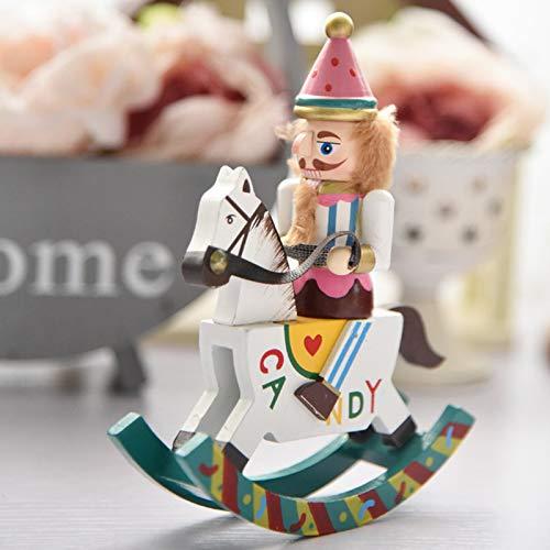 yzz Mini Cuerpo de Cascanueces de 15 cm, pequeños Adornos de decoración de Caballo Mecedora...
