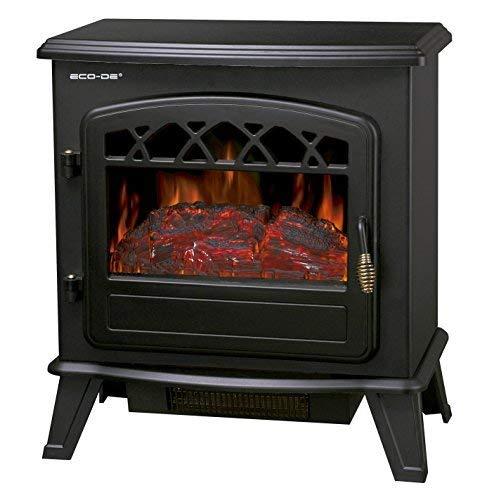 ECODE Chimenea eléctrica, Calefactor 900/1800 Watts con termostato Regulable, Efecto Fuego Real con Leña Decorativa y Llamas Regulables y Libre de Humos ECO-CHI-522