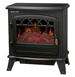 ECO-DE Chimenea eléctrica, Calefactor 900/1800 Watts con termostato Regulable, Efecto Fuego Real con Leña Decorativa y Llamas Regulables y Libre de Humos ECO-CHI-522