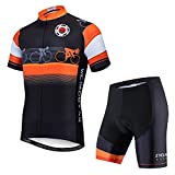 Weimostar Men's Cycling Jersey and Shorts Sets Short Sleeve Bike Shirt Top MTB Pro Team Bicycle Clothing Black Orange Size XL