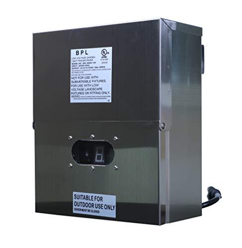 Best Pro Lighting 600W Multi Tap 120 Volt AC to 12-15 Volt LED & Halogen - Low Voltage Landscape Lighting Outdoor/Indoor Weatherproof Transformer Power Pack Digital Timer Photocell - Stainless Steel