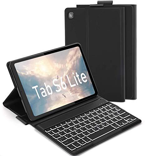 Jelly Comb Custodia con Tastiera Italiana per Samsung Galaxy Tab S6 Lite 10.4 , Tastiera Rimovibile Retroilluminata a 7 Colori,QWERTY Italiana per Samsung SM-P610 P615,- Nero
