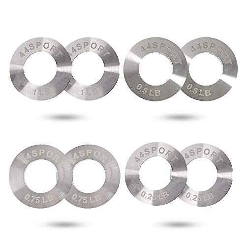 44SPORT Olympic Fractional Steel Plates -Pair of 1/4, 1/2, 3/4, 1 lb Weights (8 Total)