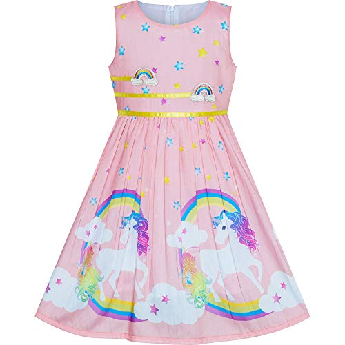 Vestido para niña Rosa Claro Unicornio Arco Iris Verano Sol 6 años