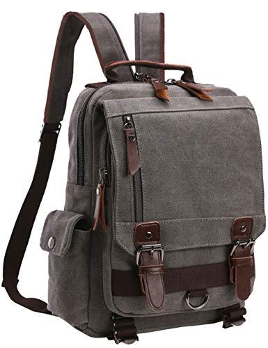 mygreen Canvas Crossbody Bag Sling Bag Fahrrad Taschen Sling Rucksack Schulterrucksack with One Strap for Radfahren Wandern Camping (Grau-Reißverschluss Schultergurt)