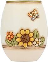 Thun C2293H90 Linea Country - Vaso Fiori da Interno, Ceramica, Bianco con Fiori Multicolore e Farfalla, Grande 20.1 x...