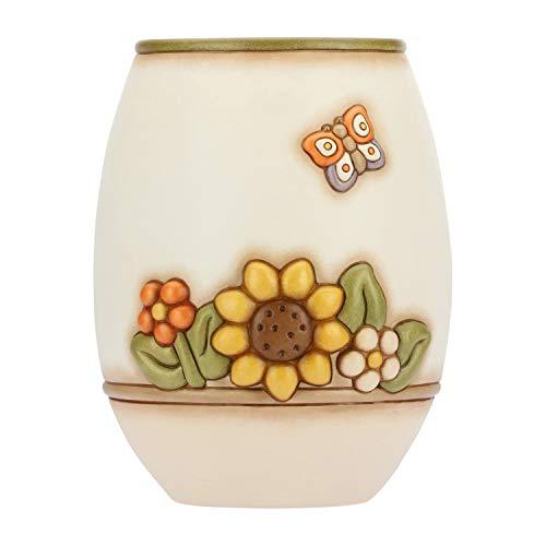 THUN - Vaso Fiori da Interno Grande - Bianco con Fiori Multicolore e Farfalla - Ceramica - Linea Country