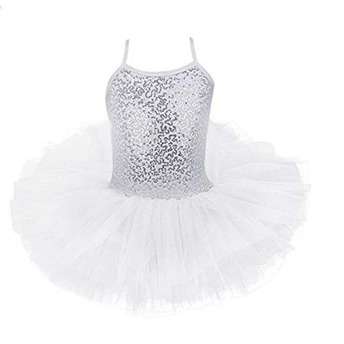 PQXOER - Vestido de baile para niñas con falda de ballet y tutú, sin mangas, espalda hueca, bailarina y bailarina, vestido de ballet para niñas, color Blanco, tamaño medium