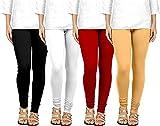 Ts Traders1 Women's Cotton Leggings Combo Set of 4 Pcs Free Size Legging for Women (Skin, Black, Red...