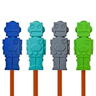 Munchables Chewable Pencil Toppers for Kids and Adults - Sensory Oral Motor Chew Aid - Set of 4 Robots (Navy/Aqua/Grey/Green)