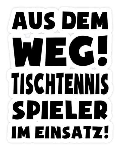 shirt-o-magic Aufkleber Tischtennis: Tischtennisspieler im Einsatz! - Sticker - 20x20cm - Weiß
