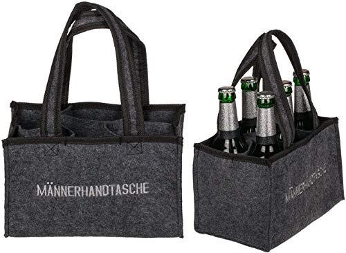 KOSxBO Herrenhandtasche, Filztasche, Flaschentasche aus Filz für 6 Flaschen, 6er Träger bis 0,5 L, grau/schwarz, 24 x 15 x 15 cm Männerhandtasche - Geschenk für Männer