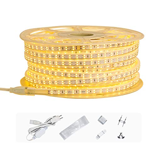 Shine Decor AC 110V-120V LED Strip Light 150FT, Double Row Cold-Resistant Minus 13F Cuttable Rope Lights, 3000K Warm White 29925 Lumen IP65 Waterproof Indoor Outdoor Strip Lighting Decoration(7x15mm)