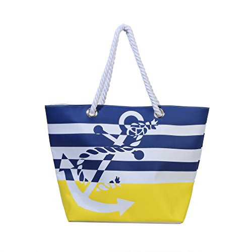 Waterproof Beach Bag Extra Large Summer Tote/Top Magnet Clasp Bag With Soft Rope Handles(Yellow)