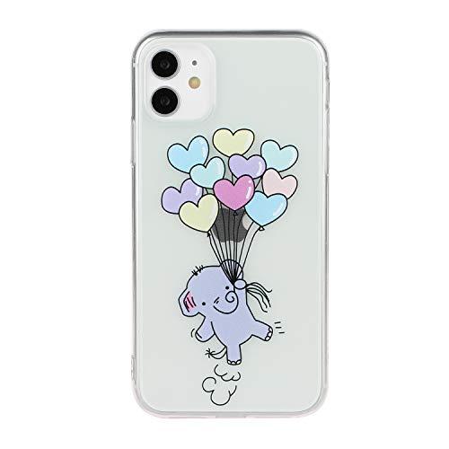 HengJun Funda para iPhone 11 Funda Transparente con diseño Delgado Protector Suave TPU Bumper Embossed Creative Pattern Cover para iPhone 11 6.1 Pulgadas - Globo Elefante