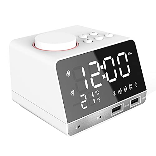 SUCHUANGUANG - Altavoz con Reloj Despertador con Radio Bluetooth 4.2 con Reloj Despertador Dual, Puerto de Carga USB, reproducción de Tarjeta AUX TF,termómetro, Pantalla LED Regulable para Dormitorio
