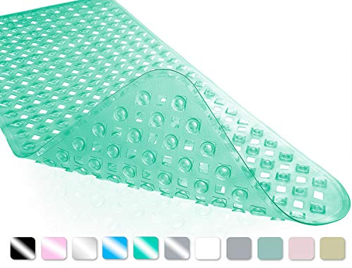 Yimobra Original Bath Tub and Shower Mat Extra Long, Non-Slip with Drain Holes, Suction Cups, Phthalate Free, Machine Washable Materials Bathroom Mats (34.5 x 15.5 Inch, Clear Green)