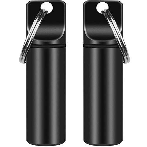 Paquete de 2 llaveros pequeños de bolsillo para píldoras portátiles, mini de aleación de aluminio, organizador de píldoras para bolso, botella de metal impermeable para camping al aire libre viajes