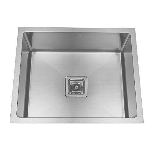 ENKI Évier compact à encastrer 1 bac carré fait main acier inoxydable