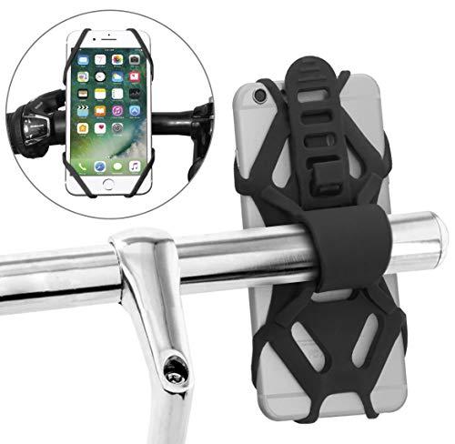 MyGadget Soporte Móvil Bicicleta Universal Motos Scooter - Elástico de Silicona para Manillar para iPhone X XR Samsung Galaxy S10 S9 Huawei Xiaomi - Negro