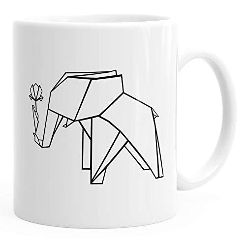 Kaffee-Tasse Origami Elefant mit Rose Polygon Keramiktasse Geschenk-Tasse MoonWorks® weiß unisize