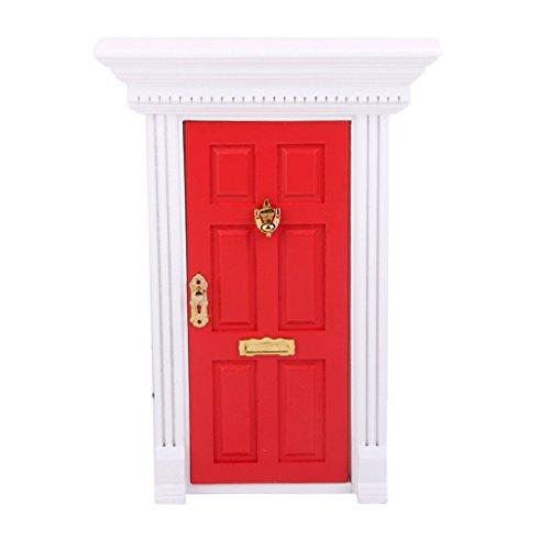 Unbekannt 1:12 Puppenhaus Miniatur Haustür Sicherheitstür Eingangstür Externen Tür Rot